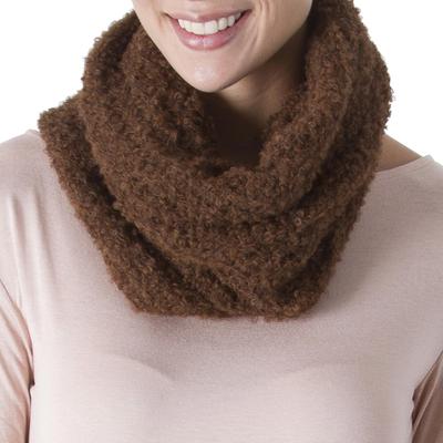 100% alpaca neck warmer, 'Soft Chestnut' - Hand Crocheted 100% Alpaca Neck Warmer in Chestnut from Peru