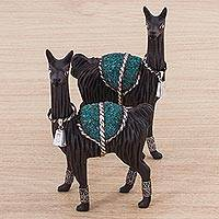 Silver accented cedar and chrysocolla sculptures, 'Loving Llamas' (pair)