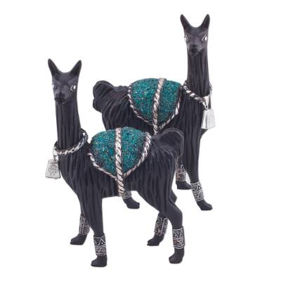 Silver accented cedar and chrysocolla sculptures, 'Loving Llamas' (pair) - Pair of Silver Accent Cedar and Chrysocolla Llama Sculptures