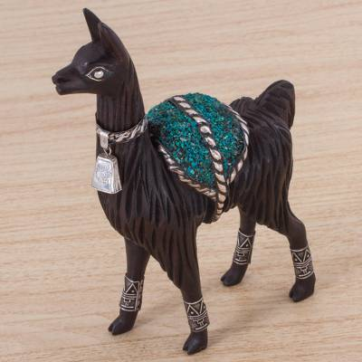 Silver accented cedar and chrysocolla sculpture, Majestic Llama