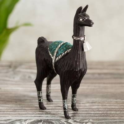 Silver accented cedar and chrysocolla sculpture, Ancestral Llama