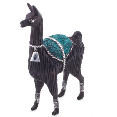 Silver accented cedar and chrysocolla sculpture, 'Ancestral Llama' - Peruvian Silver Accent Cedar and Chrysocolla Llama Sculpture