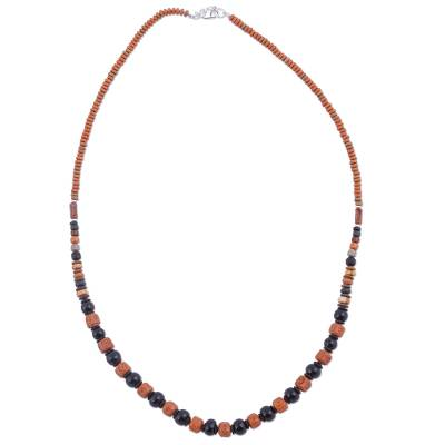 925 Sterling Silver and Ceramic Beaded Necklace from Peru