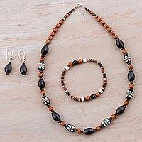 Sterling silver and ceramic jewelry set, 'Andean Mountainside' - Sterling Silver and Ceramic Jewelry Set in Black from Peru