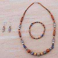 Sodalite and ceramic jewelry set, 'Andean Comfort' - Colorful Sodalite and Ceramic Jewelry Set from Peru
