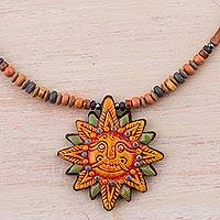 Ceramic pendant necklace, 'Incan Sun God' - 925 Sterling Silver and Ceramic Inca Sun Necklace from Peru