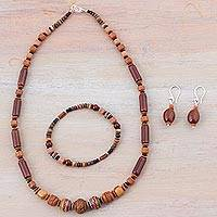 Ceramic jewelry set, 'Mountain Force' - Sterling Silver and Ceramic Brown Jewelry Set from Peru