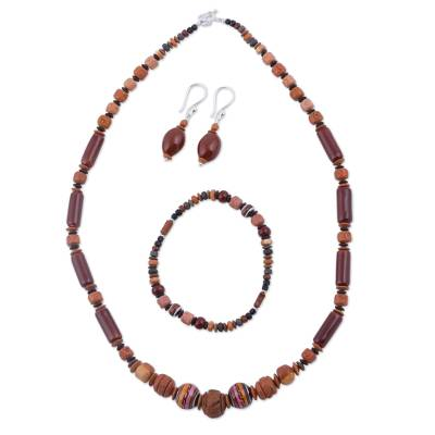 Sterling Silver and Ceramic Brown Jewelry Set from Peru