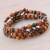 Tiger's eye and ceramic beaded bracelets, 'Andean Temples' (set of 3) - Set of 3 Tiger's Eye and Ceramic Beaded Bracelets from Peru