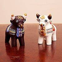 Ceramic figurines, 'Little Bulls of Pucara' (pair) - Ornate Brown and White Andean Bull Figurines (Pair)
