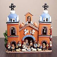Ceramic nativity scene, 'Christmas in the Stone Church' - Handcrafted Peruvian Signed Ceramic Christmas Nativity Scene