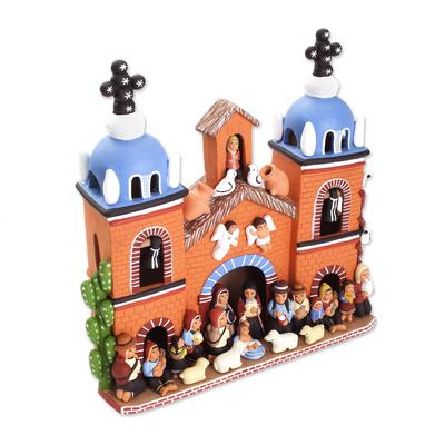 Handcrafted Peruvian Signed Ceramic Christmas Nativity Scene