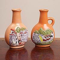 Ceramic decorative vases, 'Beautiful Andes' (pair) - Two 6-Inch Decorative Ceramic Vases with Andean Vignettes