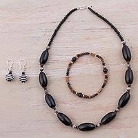 Ceramic jewelry set, 'Mountain Lady' - Black Sterling Silver and Ceramic Jewelry Set from Peru