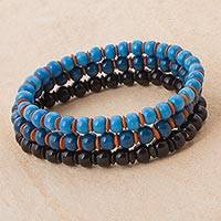 Ceramic beaded stretch bracelets, 'Ocean Deep' (set of 3) - Three Ceramic Beaded Bracelets in Cerulean Azure and Black