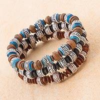 Ceramic beaded stretch bracelets, 'Andean Fortress' (set of 3) - Three Ceramic Beaded Bracelets in Blue and Brown and Black