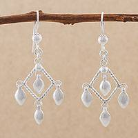 Sterling silver chandelier earrings, 'Elegant Diamonds' - Diamond-Shaped 925 Sterling Silver Earrings from Peru