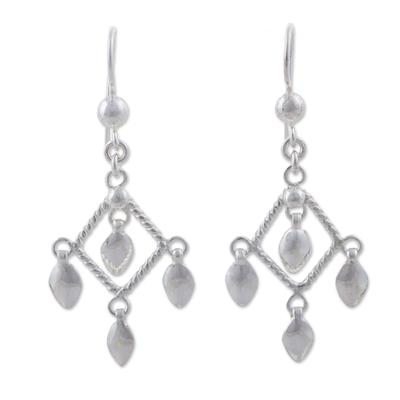 Diamond-Shaped 925 Sterling Silver Earrings from Peru