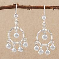 Sterling silver chandelier earrings, 'Elegant Circles' - Sterling Silver Circular Chandelier Earrings from Peru