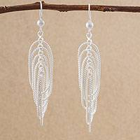 Sterling silver dangle earrings, 'Entwined Love' - 925 Sterling Silver Rope Motif Dangle Earrings from Peru