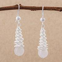 Rose quartz dangle earrings, 'Rosy Cyclones' - Rose Quartz and Sterling Silver Dangle Earrings from Peru