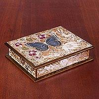 Wood jewelry box, 'Garden Butterfly in Gold' - Hand-Painted Wood Butterfly Jewelry Box in Gold from Peru