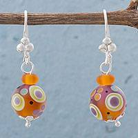 Art glass dangle earrings, 'Playful Delight' - Sterling Silver and Art Glass Dangle Earrings from Peru
