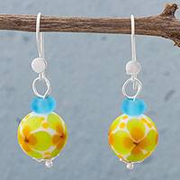 Art glass dangle earrings, 'Enchanted Spring' - Floral Art Glass and Sterling Silver Dangle Earrings