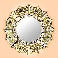 Reverse painted glass wall mirror, 'Golden Floral Sun' - Reverse-Painted Glass Mirror with Gold Tone Floral Motifs