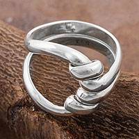 Silver cocktail ring, 'Bonds of Love' - 950 Silver Abstract Cocktail Ring by Peruvian Artisans