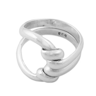 Sterling silver cocktail ring, 'Bonds of Love' - Sterling Silver Abstract Cocktail Ring by Peruvian Artisans