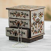 Reverse painted glass decorative chest,