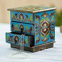 Reverse painted glass decorative chest, 'Joyous Enchantment in Blue' - Reverse Painted Glass Decorative Box in Blue from Peru