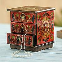 Reverse painted glass decorative chest, 'Joyous Enchantment in Red' - Reverse Painted Glass Decorative Chest in Red from Peru