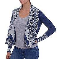 100% baby alpaca cardigan, 'Blue Symposium' - Peruvian 100% Alpaca Cardigan for Women in Cadet Blue