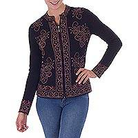 100% baby alpaca cardigan, 'Floral Mystique' - 100% Alpaca Zipper Cardigan in Black with Tan Flowers