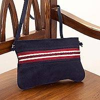 Suede and alpaca accent sling, 'Navy Andes' - Navy Suede and Alpaca Accent Sling Handbag from Peru