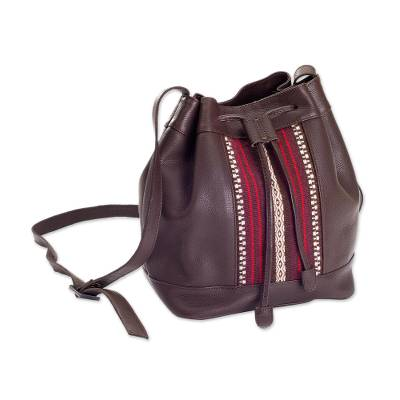 Chocolate Leather and Alpaca Blend Bucket Bag from Peru