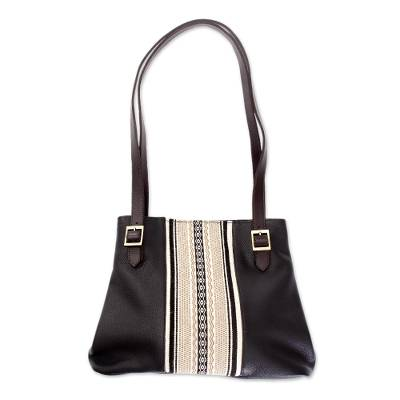 Black Leather and Alpaca Accent Shoulder Bag from Peru