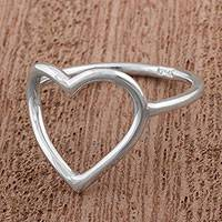 Silver cocktail ring, 'Sweet Promise' - Silver 950 Heart Shaped Cocktail Ring from Peru