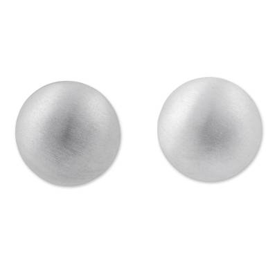 Round Silver Button Earrings with Matte Finish