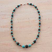 Multi-gemstone beaded necklace, 'Celestial Bodies' - Agate Multi-Gem Beaded Necklace by Peruvian Artisans