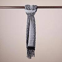 100% alpaca scarf, 'Midnight Smoke' - Reversible 100% Alpaca Scarf in Smoke and Black from Peru