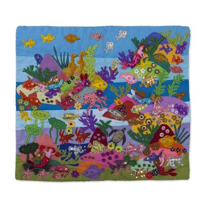 Cotton blend patchwork wall hanging, 'Coral Mermaids' - Cotton Blend Patchwork Sea Life Wall Hanging from Peru