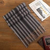 Men's baby alpaca blend scarf, 'Dark Style' - Alpaca Blend Men's Scarf in Pearl Grey and Black from Peru