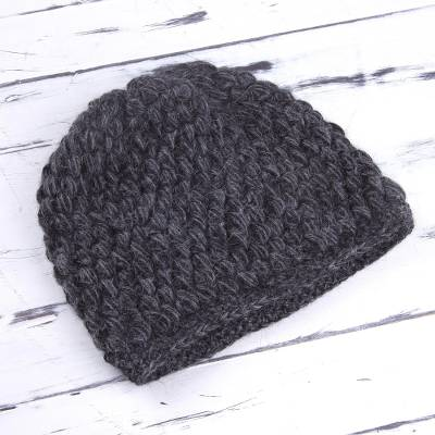 68ad71ccea6 Hand Knit 100% Alpaca Hat in Smoke and Graphite from Peru - Smoky ...