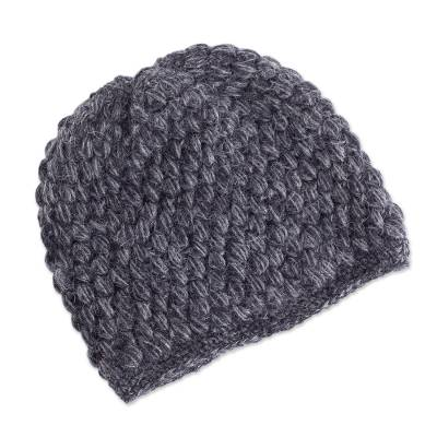 Hand Knit 100% Alpaca Hat in Smoke and Graphite from Peru