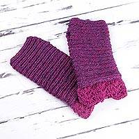100% alpaca fingerless mitts, 'Fuchsia Paradise' - Hand Knit 100% Alpaca Fingerless Mitts in Fuchsia from Peru
