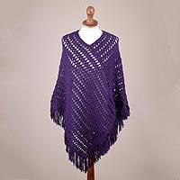 100% alpaca poncho, 'Deep Purple Lattice' - Hand Crocheted Purple Poncho in 100 Percent Alpaca Wool