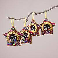 Cotton blend ornaments, 'Nativity Joy' (set of 4) - Four Cotton Blend Nativity Scene Star Ornaments from Peru